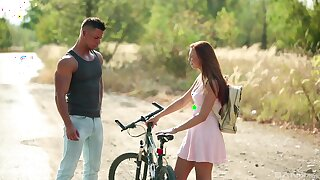 Young hottie Morgan Rodriguez meets a helpful man almost the wild