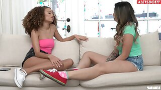 Marvelous nude adolescence share Hawkshaw in wild casting couch triune