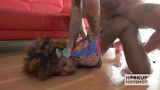 Curly smart legged ebony blowlerina is brutally fucked missionary style