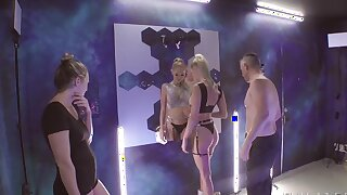 Blonde cutie Emma Hix is posing with Mick Blue for injection session