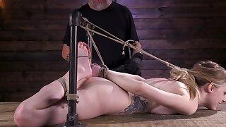 Blonde enjoys monster fingerbanged while monster tied up