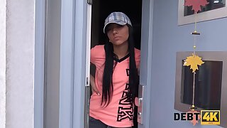 Goof off Adelle Sabelle fucked by the muscled debt collector
