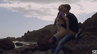 Young Spanish teen Julia de lucia fucked by boyfriend outdoors on the beach