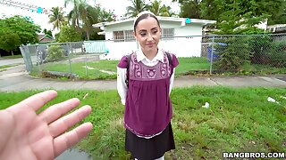 Shy babe Becky Sins takes money to loathe fucked wits a outsider