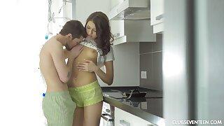 Dick loving girlfriend Jordan C fucked in all holes in the kitchen
