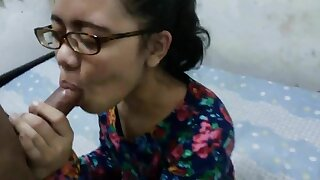 Indonesian nerdy teen suck and fuck